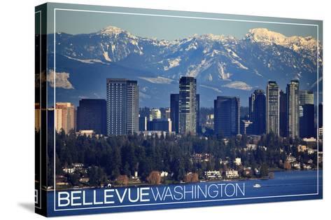 Bellevue, Washington - Lake Washington and Skyline-Lantern Press-Stretched Canvas Print