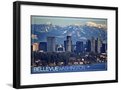 Bellevue, Washington - Lake Washington and Skyline-Lantern Press-Framed Art Print