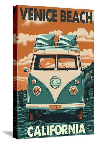 Venice Beach, California - VW Van-Lantern Press-Stretched Canvas Print