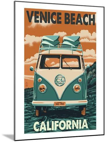 Venice Beach, California - VW Van-Lantern Press-Mounted Art Print