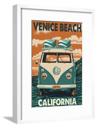 Venice Beach, California - VW Van-Lantern Press-Framed Art Print