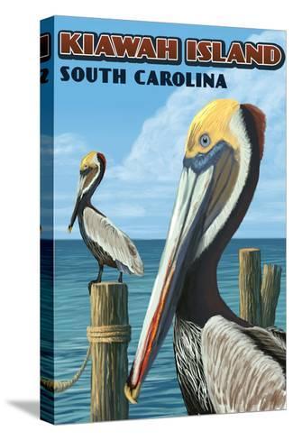 Kiawah Island, South Carolina - Pelicans-Lantern Press-Stretched Canvas Print