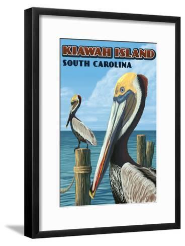 Kiawah Island, South Carolina - Pelicans-Lantern Press-Framed Art Print