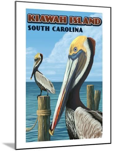 Kiawah Island, South Carolina - Pelicans-Lantern Press-Mounted Art Print