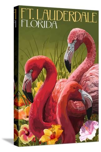Ft. Lauderdale, Florida - Flamingo Scene-Lantern Press-Stretched Canvas Print
