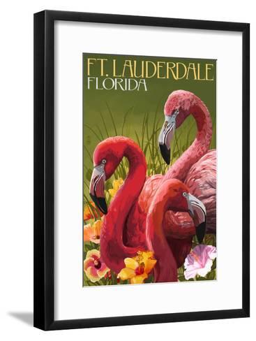Ft. Lauderdale, Florida - Flamingo Scene-Lantern Press-Framed Art Print