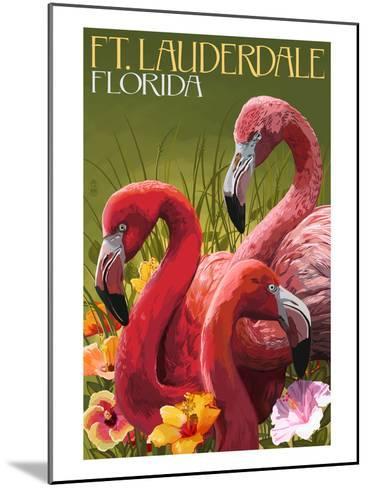Ft. Lauderdale, Florida - Flamingo Scene-Lantern Press-Mounted Art Print