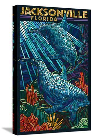 Jacksonville, Florida - Dolphins Paper Mosaic-Lantern Press-Stretched Canvas Print