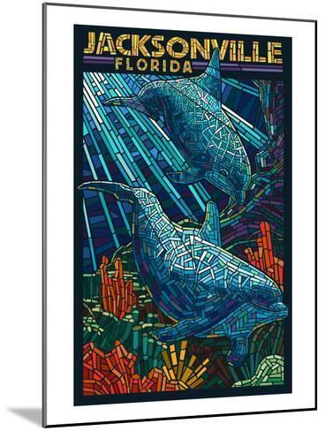 Jacksonville, Florida - Dolphins Paper Mosaic-Lantern Press-Mounted Art Print