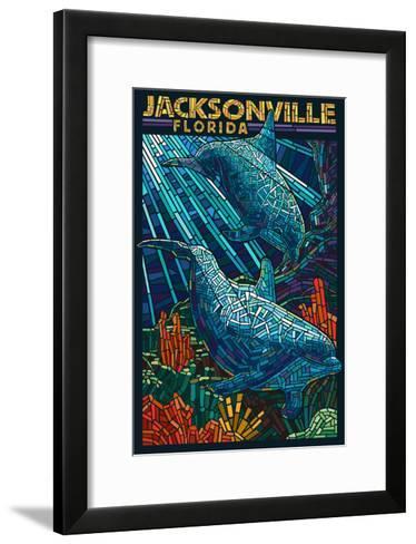 Jacksonville, Florida - Dolphins Paper Mosaic-Lantern Press-Framed Art Print