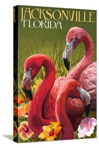 Jacksonville, Florida - Flamingos-Lantern Press-Stretched Canvas Print