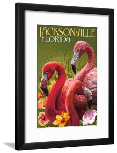 Jacksonville, Florida - Flamingos-Lantern Press-Framed Art Print