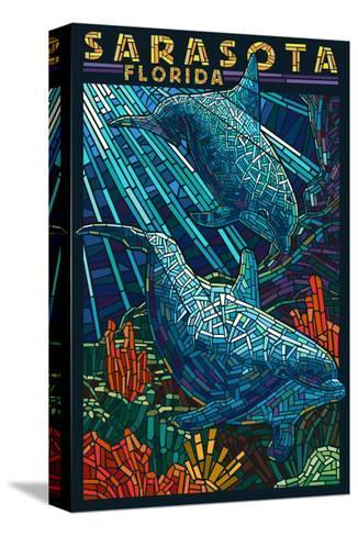 Sarasota, Florida - Dolphin Paper Mosaic-Lantern Press-Stretched Canvas Print