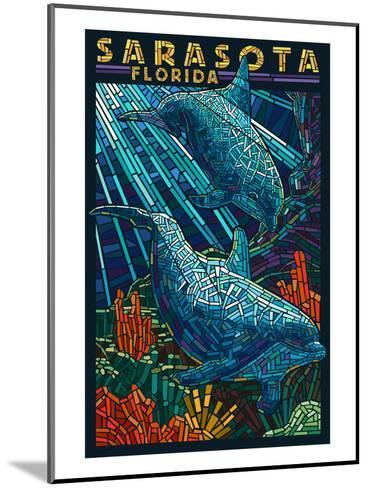 Sarasota, Florida - Dolphin Paper Mosaic-Lantern Press-Mounted Art Print