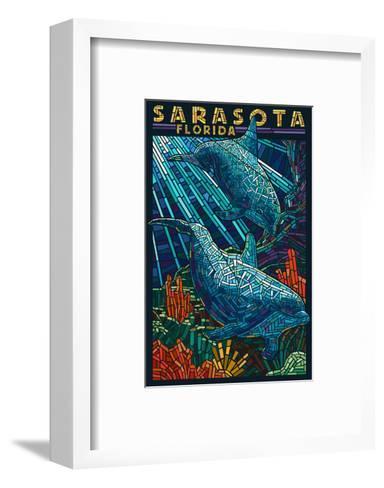 Sarasota, Florida - Dolphin Paper Mosaic-Lantern Press-Framed Art Print