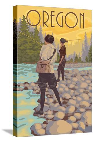 Oregon - Women Fishing-Lantern Press-Stretched Canvas Print