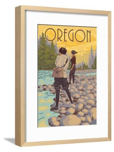 Oregon - Women Fishing-Lantern Press-Framed Art Print