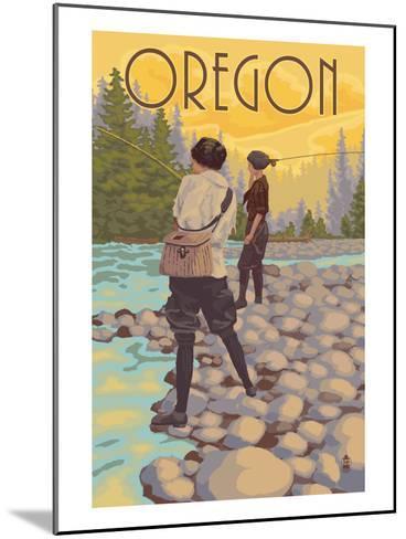 Oregon - Women Fishing-Lantern Press-Mounted Art Print