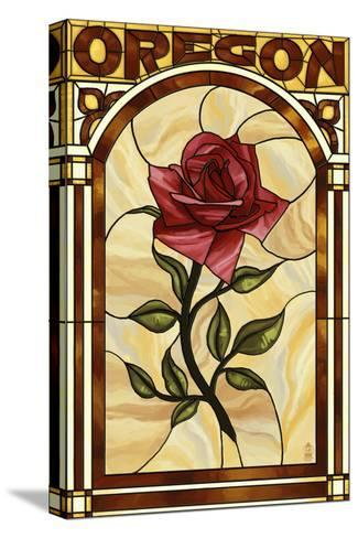 Oregon - Rose Stained Glass-Lantern Press-Stretched Canvas Print