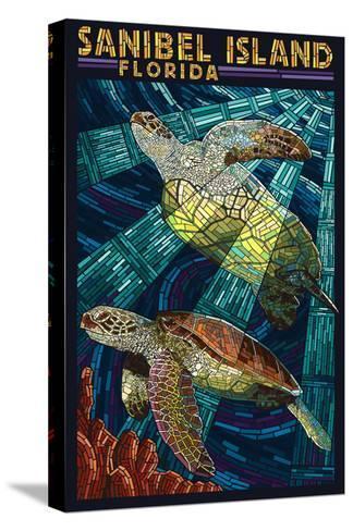 Sanibel Island, Florida - Sea Turtle Paper Mosaic-Lantern Press-Stretched Canvas Print