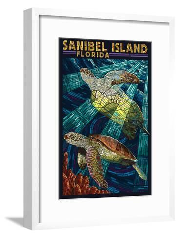 Sanibel Island, Florida - Sea Turtle Paper Mosaic-Lantern Press-Framed Art Print