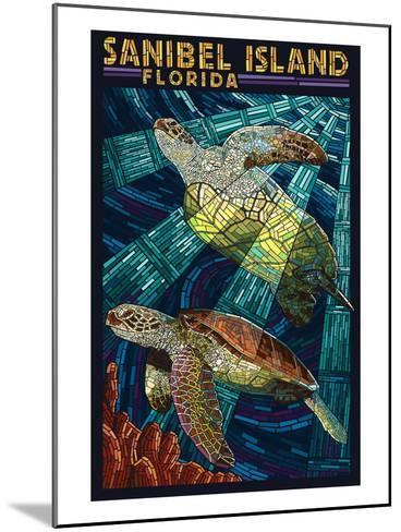 Sanibel Island, Florida - Sea Turtle Paper Mosaic-Lantern Press-Mounted Art Print