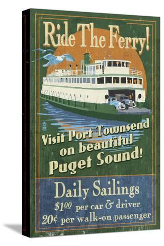 Port Townsend, Washington - Ferry-Lantern Press-Stretched Canvas Print