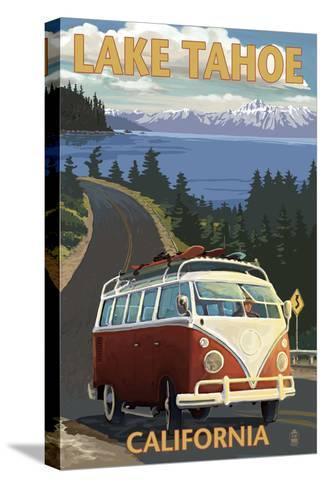 Lake Tahoe, California - VW Coastal Drive-Lantern Press-Stretched Canvas Print