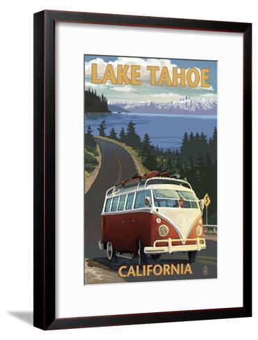 Lake Tahoe, California - VW Coastal Drive-Lantern Press-Framed Art Print