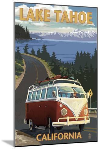 Lake Tahoe, California - VW Coastal Drive-Lantern Press-Mounted Art Print
