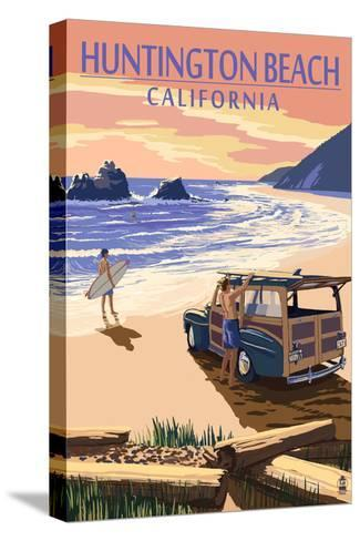 Huntington Beach, California - Woody on Beach-Lantern Press-Stretched Canvas Print