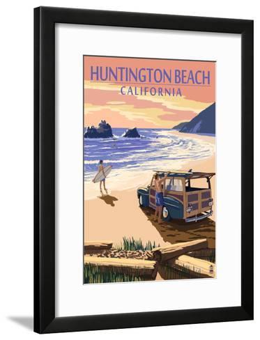 Huntington Beach, California - Woody on Beach-Lantern Press-Framed Art Print