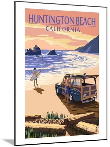 Huntington Beach, California - Woody on Beach-Lantern Press-Mounted Art Print