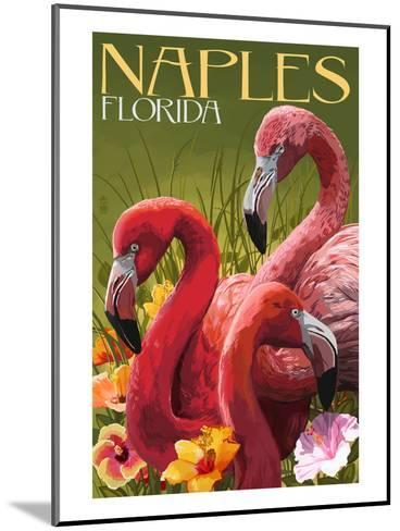 Naples, Florida - Flamingos-Lantern Press-Mounted Art Print
