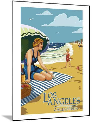 Los Angeles, California - Woman on the Beach-Lantern Press-Mounted Art Print
