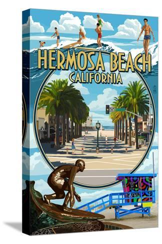 Hermosa Beach, California - Montage Scenes-Lantern Press-Stretched Canvas Print