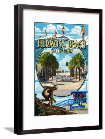 Hermosa Beach, California - Montage Scenes-Lantern Press-Framed Art Print