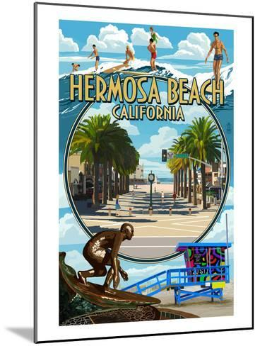 Hermosa Beach, California - Montage Scenes-Lantern Press-Mounted Art Print