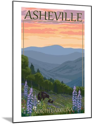 Asheville, North Carolina - Spring Flowers and Bear Family-Lantern Press-Mounted Art Print