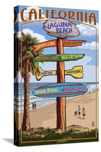 Laguna Beach, California - Destination Sign-Lantern Press-Stretched Canvas Print