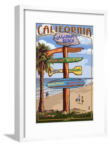 Laguna Beach, California - Destination Sign-Lantern Press-Framed Art Print