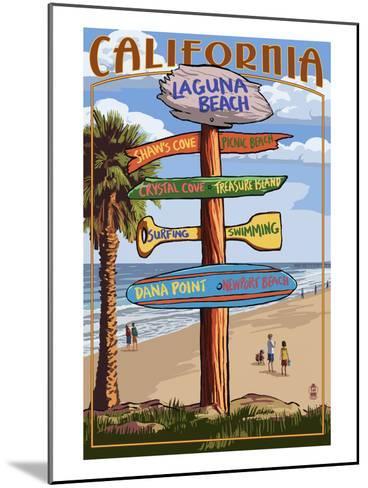 Laguna Beach, California - Destination Sign-Lantern Press-Mounted Art Print