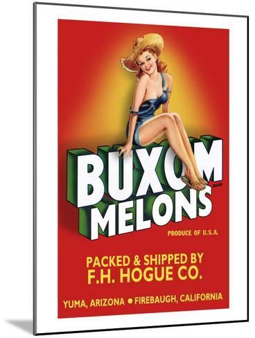 Buxom Melons - Crate Label-Lantern Press-Mounted Art Print