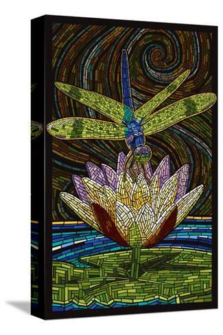 Dragonfly - Paper Mosaic-Lantern Press-Stretched Canvas Print