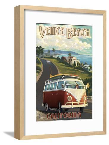 Venice Beach, California - VW Van Cruise-Lantern Press-Framed Art Print