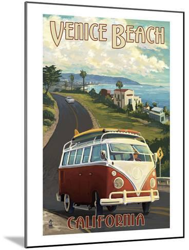Venice Beach, California - VW Van Cruise-Lantern Press-Mounted Art Print