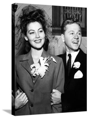 Ava Gardner and Mickey Rooney After Their Wedding, January, 1942--Stretched Canvas Print