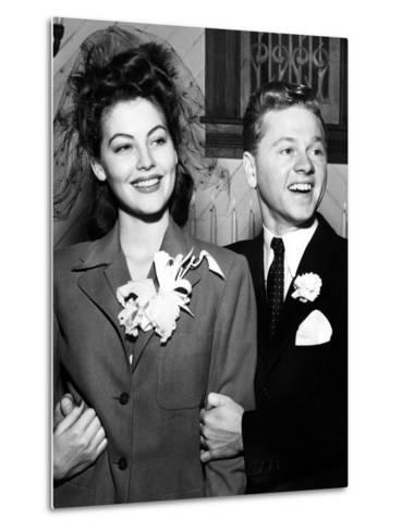 Ava Gardner and Mickey Rooney After Their Wedding, January, 1942--Metal Print