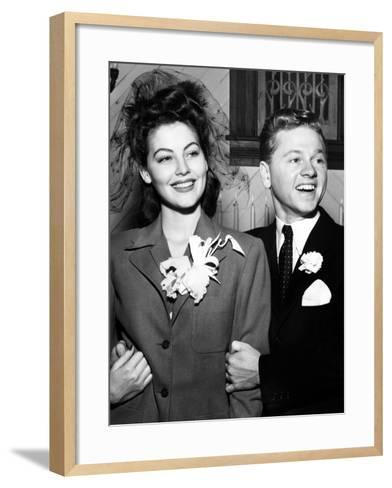 Ava Gardner and Mickey Rooney After Their Wedding, January, 1942--Framed Art Print
