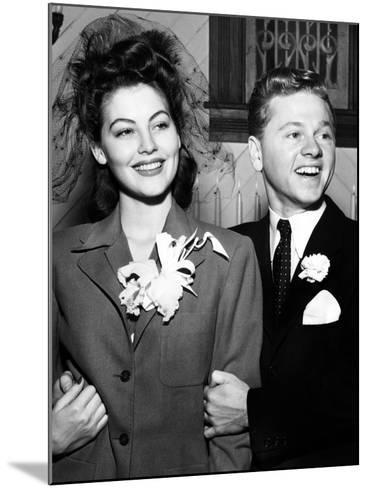 Ava Gardner and Mickey Rooney After Their Wedding, January, 1942--Mounted Photo